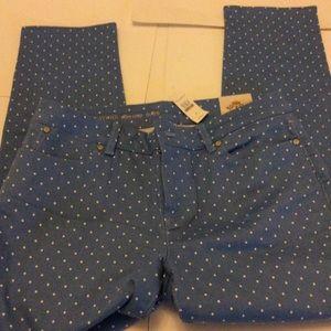 NWT Talbots Blue Polka Dot Jeans Slim Crop